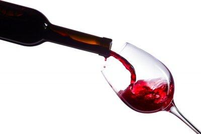 Sticker  Red wine on white background