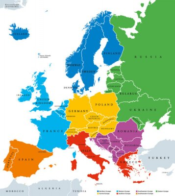 Sticker Regions of Europe, political map, with single countries and English labeling. Northern, Western, Southeastern, Eastern, Central, Southern, Southwestern Europe in different colors. Illustration. Vector