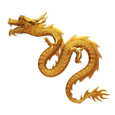Sticker Rendu 3d de dragon d'or