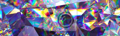 Sticker Rendu 3D, fond cristal abstrait, texture irisée, panorama macro, gemme à facettes, large fond d'écran polygonal panoramique