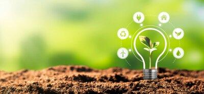 Sticker Renewable, sustainable energy sources concept