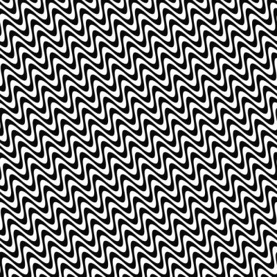 Sticker Répéter, noir, blanc, vague, modèle
