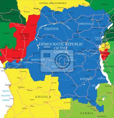 République démocratique du Congo carte (ex-Zaïre)