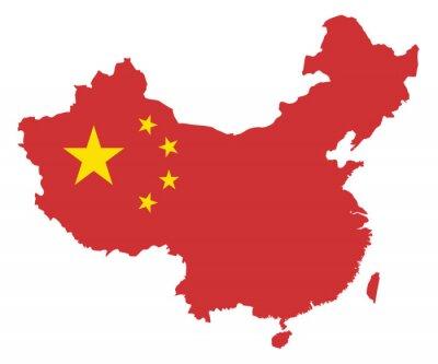 Sticker République populaire de Chine Drapeau de carte vectorielle Illustration