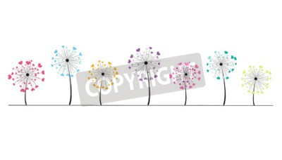 Sticker Résumé coeur coloré vecteur fond pissenlit printemps