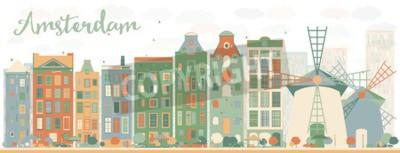 Sticker Résumé de l'horizon de la ville d'Amsterdam avec des bâtiments colorés. Illustration vectorielle. Concept de voyage d'affaires et de tourisme avec des bâtiments historiques. Image pour présentation, b