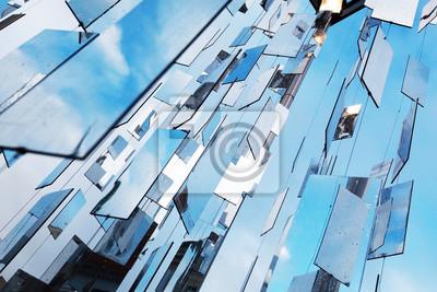 Résumé fond bleu avec des miroirs au-dessus du ciel