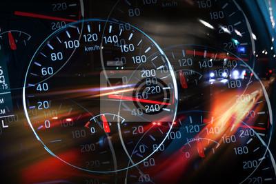 Résumé illustration nuit de course avec les lumières floues