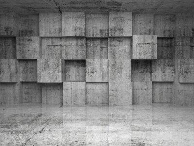 Résumé intérieur béton vide avec des cubes sur le mur