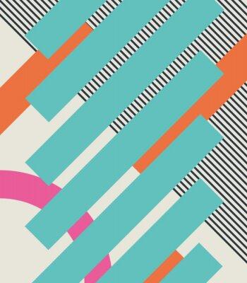 Sticker Résumé, retro, 80s, fond, à, géométrique, formes, et, modèle. Conception du matériau.