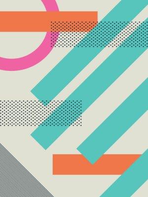 Sticker Résumé, retro, 80s, fond, à, géométrique, formes, et, modèle. Papier peint de conception matérielle.