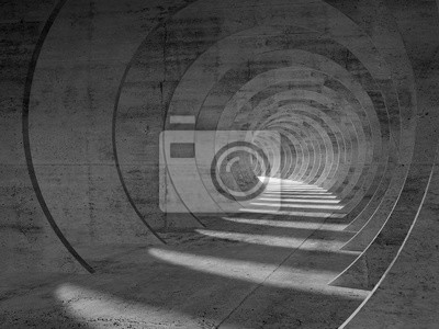 Résumé tunnel intérieur de béton, vue en perspective