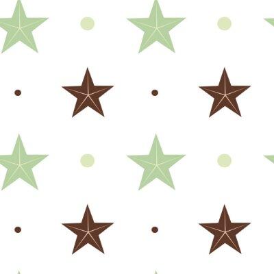 Sticker Résumé vert et brun étoiles seamless vecteur modèle fond Illustration dans scandinave couleurs