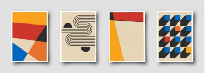 Sticker Retro 60s-70s graphic design covers. Cool vintage shape compositions. Trendy colorful bauhaus art templates.