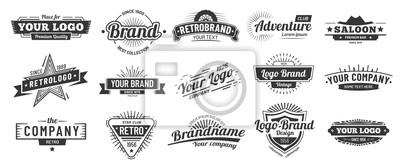 Sticker Retro badge. Old emblem, logo frame and vintage silhouette badges hipster design vector set
