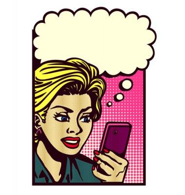 Sticker Retro, bande dessinée, Style, femme, regarder, smartphone, texting, lecture, texte, message, sms, pensée,