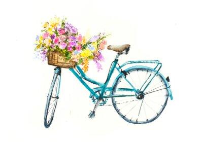 Sticker Retro bicyclette bleu avec des fleurs dans le panier sur l'isolement blanc, aquarelle dessinée sur papier