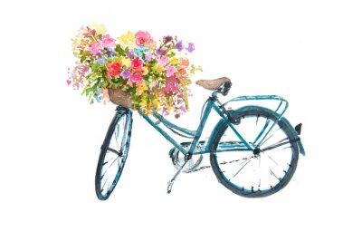 Sticker Rétro bicyclette bleu avec une fleur sur fond blanc, illustrateur aquarelle, art vélo