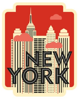 Sticker Retro design poster New York. Skyscrapers and clouds. Vector drawing