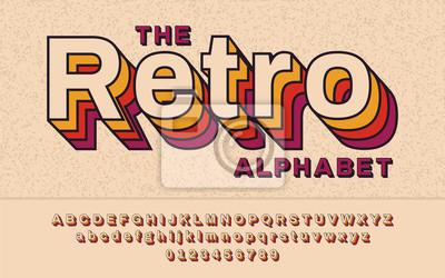 Sticker Retro Font 90, années 80. Avec l'effet de VHS, alphabet abc de vecteur