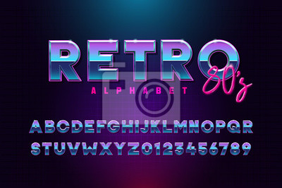 Sticker Retro font effect based on the 80s. Vector design 3d text elements based on retrowave, synthwave graphic styles. Mettalic alphabet typeface in different blue and purple colors