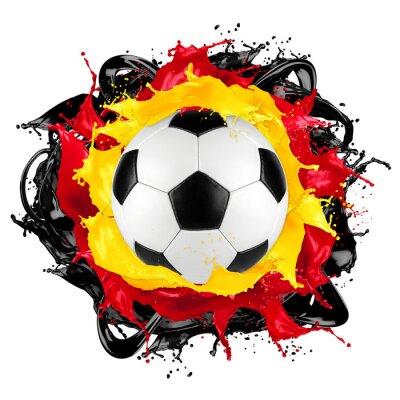 Sticker Retro, football, balle, Allemand, drapeau, éclaboussure