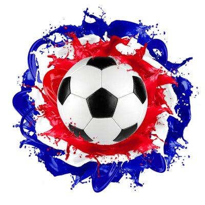 Sticker Retro, football, balle, francais, drapeau, éclaboussure
