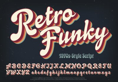 Sticker Retro Funky is a soft and plump 1970s style script alphabet with rainbow colored multi shadow layers.
