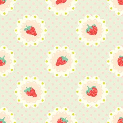 Sticker Rétro modèle de fraise. Un style chic délabré