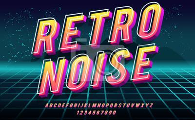 Sticker Retro Noise. 3D bold font in 1980s style. Illustration of 1980 retro neon poster. Futuristic landscape.