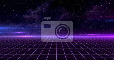 Sticker Retro Sci-Fi Background Futuristic Grid landscape of the 80`s. Digital Cyber Surface. Suitable for design in the style of the 1980`s. 3D illustration