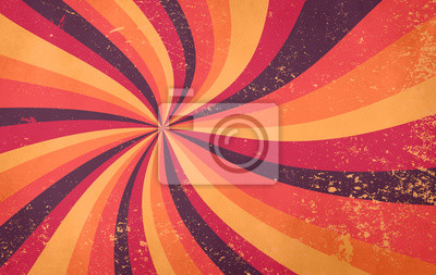Sticker retro starburst sunburst background pattern and grunge textured vintage autumn color palette of burgundy red pink peach orange yellow and purple brown in spiral or swirled radial striped design