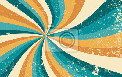 Sticker retro starburst sunburst background pattern and grunge textured vintage color palette of orange yellow and blue green in spiral or swirled radial striped vector design