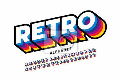 Sticker Retro style colorful font design, alphabet letters and numbers