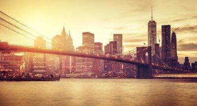 Sticker Rétro, stylisé, Manhattan, Coucher soleil, nouveau, York, USA