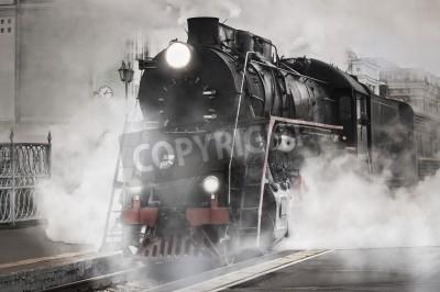 Sticker Retro train à vapeur part de la gare de chemin de fer
