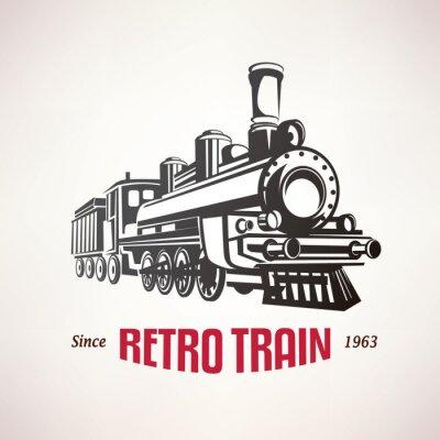 Sticker Retro, train, vendange, vecteur, Symbole, emblème ...