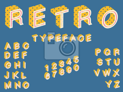 Sticker Retro typeface, 3d looking 50's police
