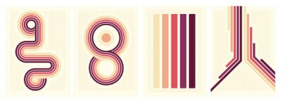 Sticker retro vintage 70s style stripes background poster lines. shapes vector design graphic 1970s retro background. abstract stylish 70s era line frame illustration