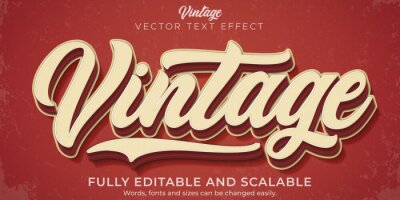 Sticker Retro, vintage text effect, editable 70s and 80s text style