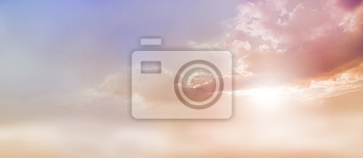 Sticker Rêveur, romantique, ciel, scape - beau, large, pêche, sombre, pâle, bleu, ciel, nuage, scape, éclat, lumière soleil, émerger, sous, nuage, base, copie