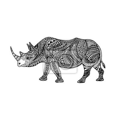 Coloriage En Ligne Rhinoceros.Sticker Rhinoceros Orne Abstrait Monochrome Isole Contour Noir Dessine