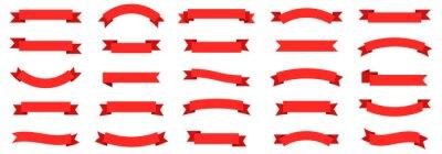 Sticker Ribbon banner set. Ribbons collection. Red ribbons. Vector ribbon