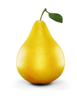 Sticker Ripe poire jaune sur fond blanc. 3d.