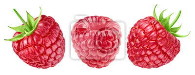 Sticker Ripe raspberries collection isolated on white background