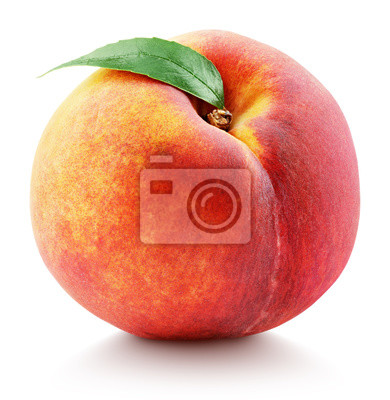Sticker Ripe whole peach fruit with green leaf isolated on white background with clipping path. Full depth of field.