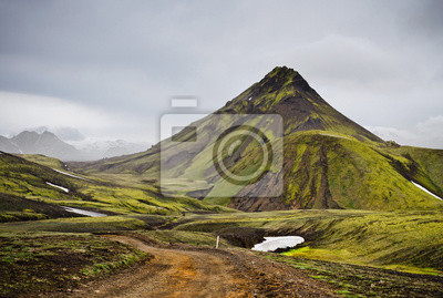 Road in Iceland volcanic mountain