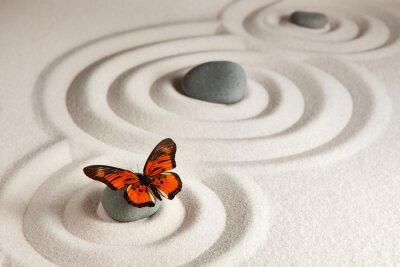 Sticker Roches zen avec papillon