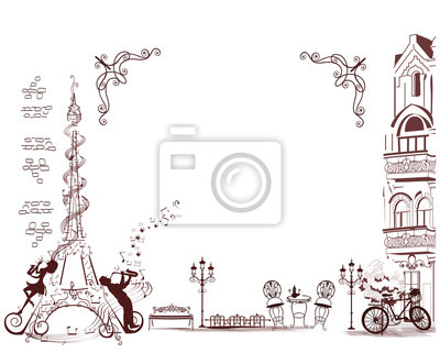Sticker Romantique Tour Eiffel décore avec portée musicale