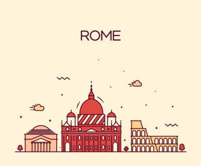 Sticker Rome City skyline style d'art de la ligne de vecteur détaillée